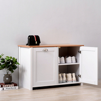 Panana Oak and White Shoe Storage Cabinet Shoe Rack Shoe Bench with Bench Top for Hallway Livingroom Bedroom