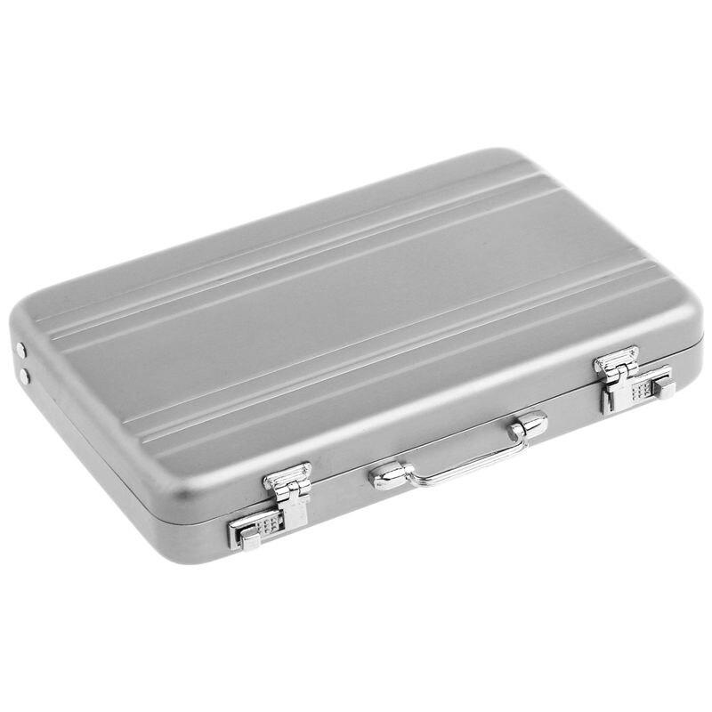 Aluminum Password Box Card Case Mini Suitcase Miniature Briefcase Name Card Holder Storage Box Silver 9.5cm * 6cm