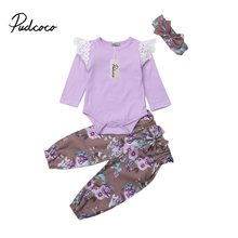 3Pcs Newborn Baby Girls Flower Lace Cotton Top Long Sleeve Romper Pants Outfits Clothes 0-2T