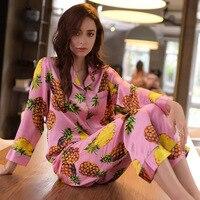 Шелковые пижамы женские розовые Ананас Цветок пижамы женские чистый шелк с длинными рукавами пижама брюки комплект из двух предметов *
