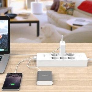 "Image 5 - ORICO HPC V1 USB האיחוד האירופי בריטניה ארה""ב חשמל שקע חכם כוח רצועת עומס מתג Surge הגנה 4 6 8 יציאות AC 5 2.4A USB יציאות"