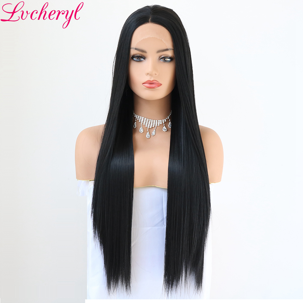 Lvcheryl Long Natural Straight Black Color Lace Front Wigs Hand Tied Glueless Heat Resistant Synthetic Hair