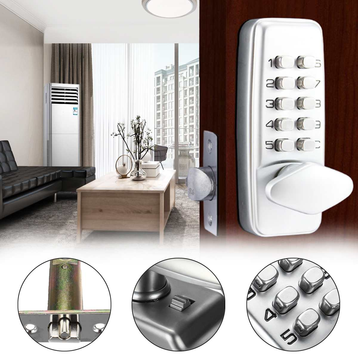 Serrure de porte mécanique étanche entrée sans clé serrure à combinaison extérieure serrures à Code numérique pour le matériel de meubles de maison