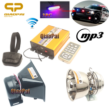 Loud Car Horn 12V Universal Alarm MIC Systems Police Lights Strobe MP3 Wireless Siren 200W Megaphone Waring PA System