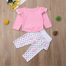 Recién Nacido bebé niña ropa Jersey cuello redondo manga larga borla Tops  impresión Flamingo pantalones 2 Unid niño niños de alg. 2ddca35f0178