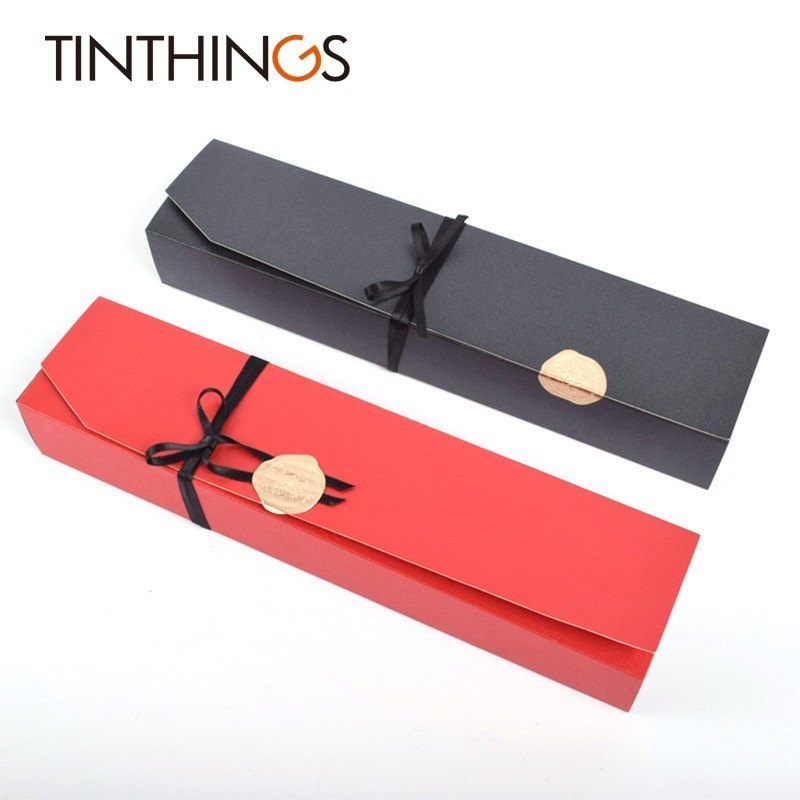 Image 2 - 5 PCS Present Gift Box Chocolate Jewelry Wedding Favor Paper Gift Box Candy Red Black Box Packaging Ribbon Sticker CardboardGift Bags & Wrapping Supplies   -