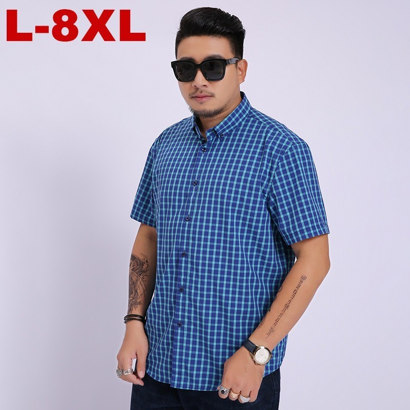 2019 New 8XL 7XL 6XL Arrival Summer Men Short Sleeved Cotton Lattices Casual Fashion Casual Shirts Mens Large Plus Size in Casual Shirts from Men 39 s Clothing