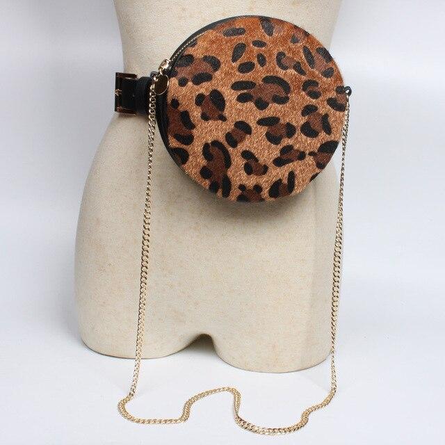 SHENGPALAE 2019 nuevo primavera impresión leopardo ronda Negro estilo de personalidad con cremallera cinturón de Mujeres de moda Vintage FL26813