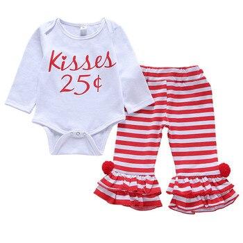 CAINS niños pequeños bebés niñas Top estampado algodón mono volantes rayas pantalones Leggings ropa conjunto otoño niña ropa
