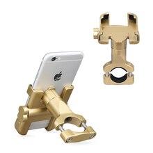 Suporte de metal para guidão de bicicleta, suporte de telefone para motocicleta com rotação de 360 graus para iphone xiaomi huawei vivo
