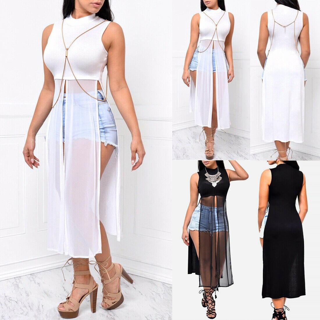 Sunny Women Ladies Sleeveless Round Neck Patchwork Mesh Split Crop Top Vest Long Dress Women's Clothing