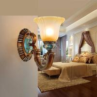 Mediterranean Sea Led Wall Light for Bedroom E27 Bedside Lamp Wall Lamps Retro Living Room Background American glass wall sconce