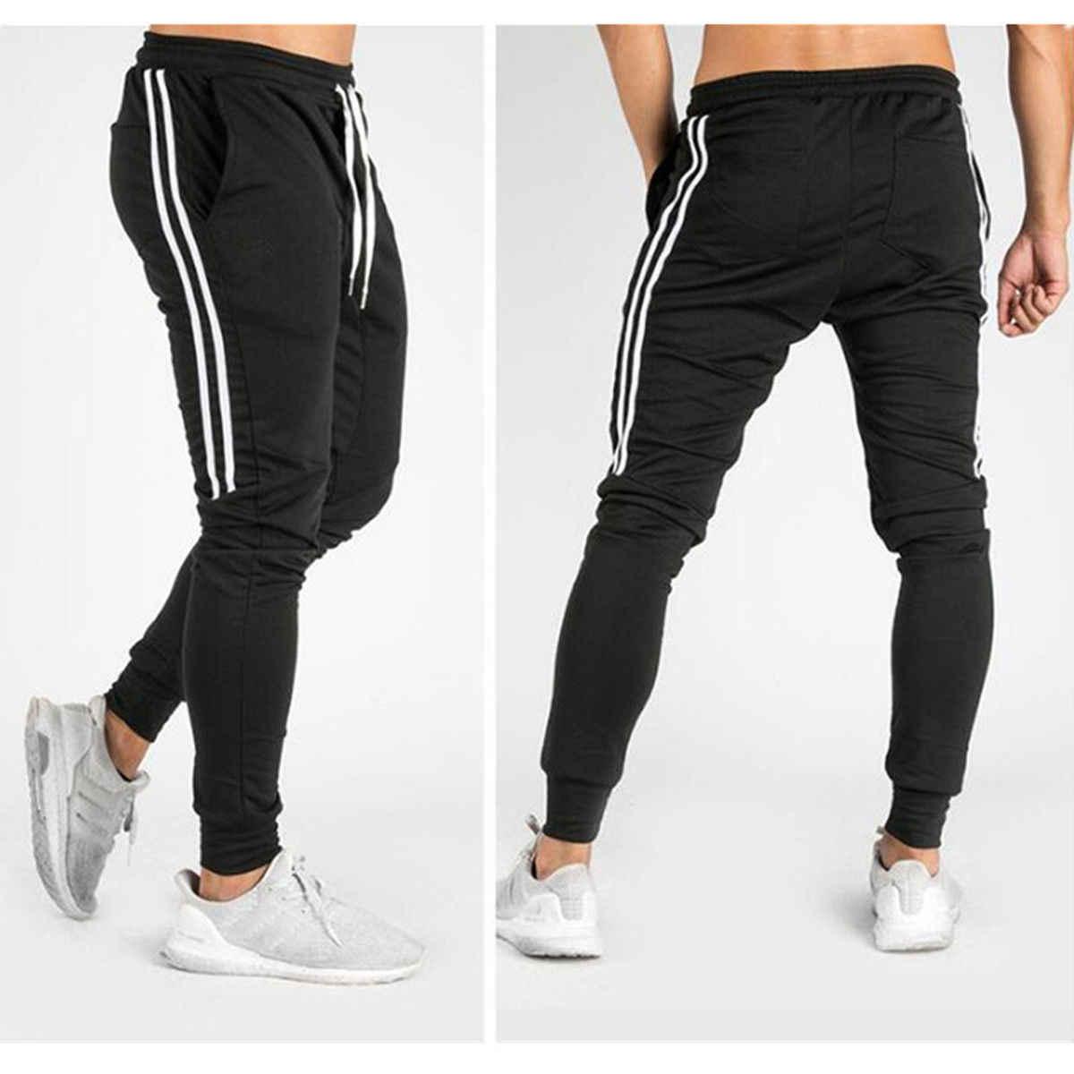 Yeni erkek Hip Hop Sweatpants spor Joggers 2019 bahar erkek yan şerit yüksek sokak Hip uzun pantolon Harem pantolon Sweatpant