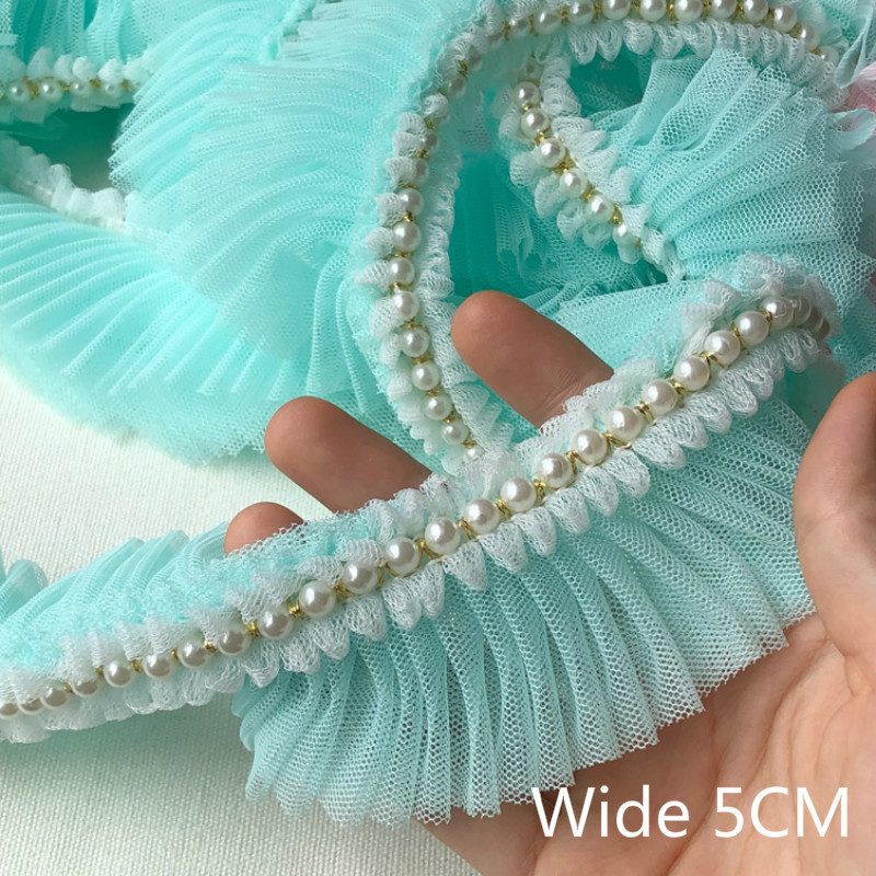 5CM Wide Pleated Chiffon Lace Ruffle Beaded Ribbon Dress Collar 3D Embroidery Lace Fabric Applique For Sewing Guipure Supplies(China)