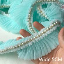 5CM szeroki plisowany szyfon koronka falbany zroszony wstążka sukienka kołnierz 3D haftowana koronkowa tkanina aplikacja do szycia gipiury dostaw tanie tanio yoohxin CN (pochodzenie) Appliqued Szyfonowa Lace Organza Koronki Ekologiczne Elastyczna Rozpuszczalny w wodzie Folded sewing lace