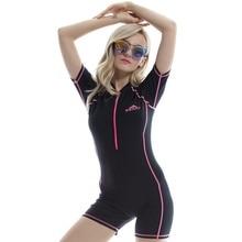 One-piece Swimsuit Black Diving Suit Prevented UV Short-Sleeved Snorkeling Surf Dive Women Wetsuit Snorkel Scubadiving