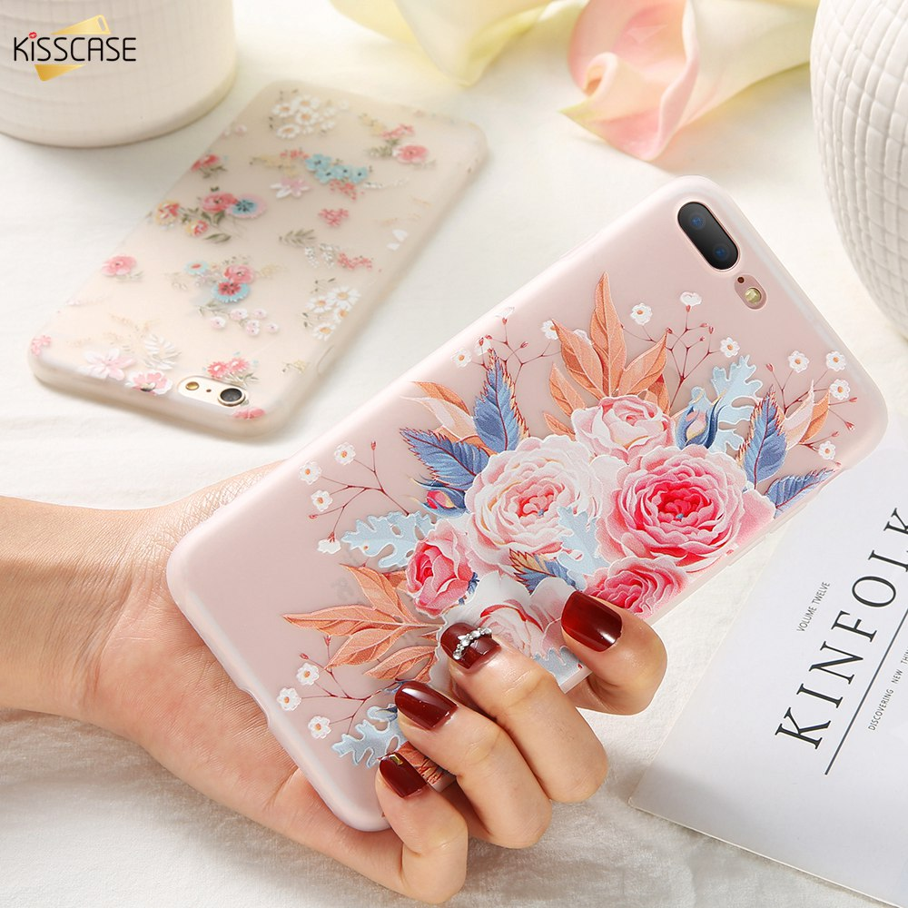 KISSCASE 3D Relief Flower TPU Phone Case for Xiaomi Redmi Note 7 6 5 Pro 4 4X 4A 5A 5 Plus 6A 6 Pro Redmi GO Soft Case Cover-in Fitted Cases from Cellphones & Telecommunications