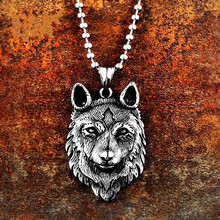 316L Stainless Steel Pendant Necklace Norse Vikings Wolf Head Choker Hange Charms For Hip Hop Men Jewelry Chain