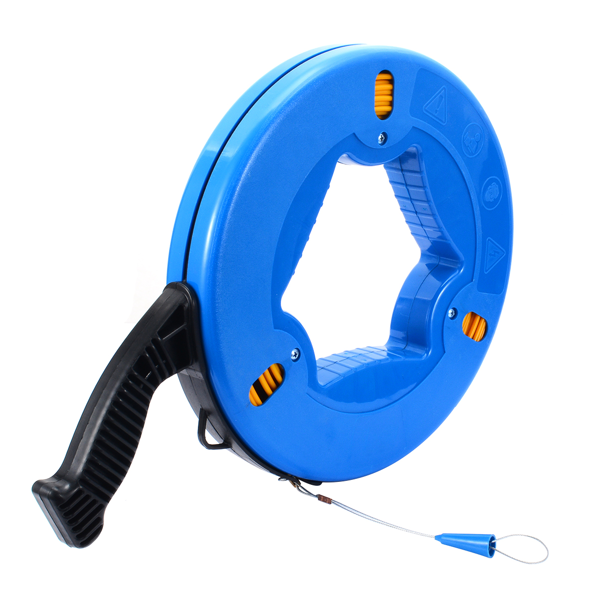 4mmx45m Blue ABS Plastic Cable Fiberglass Fish Tape Reel Puller Nylon Metal Wall Wire Conduit