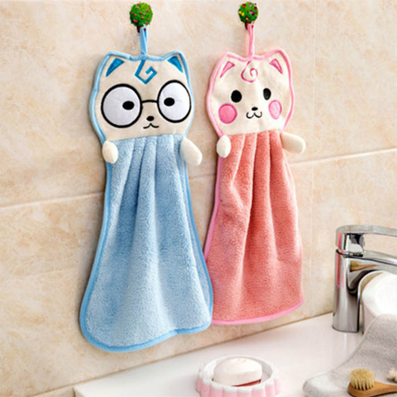 Cute Cartoon Handkerchief Dishcloths Hand Towel Terylene Bathroom Accessories Hand Face Wipe Soft Towel Kitchen Hanging Towels