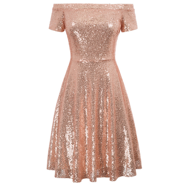 KK Stunning Women s Sequined Short Sleeve Off Shoulder A Line Skater Golden Rose  Gold Dress -in Dresses from Women s Clothing on Aliexpress.com  6b3f6d7fcc9a