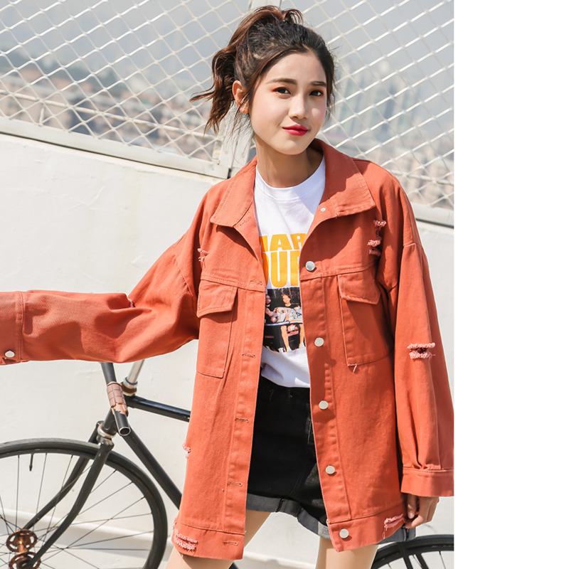 Hip hop Punk White Red Yellow Pink Tops Loose   Basic   Denim Hole   Jacket   Women Over Size Outwear Autumn Candy colors Jeans Coat