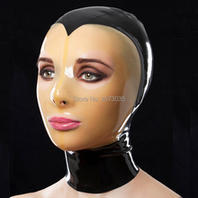 new sexy exotic lingerie handmade black spliced with transparent face latex rubber hoods mask cekc zentai fetish back zipp