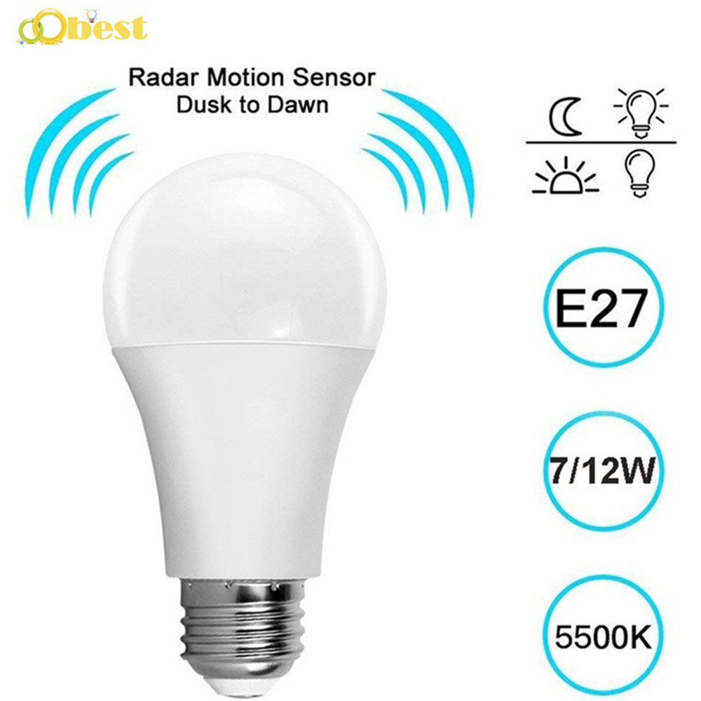 Radar PIR Motion Sensor Light Bulb E27 Auto Smart Infrared Body Sound 7W 12W AC85-265V Energy Saving For Garden Toilet Hallway