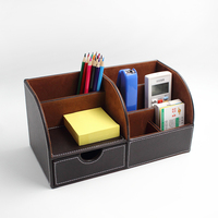 PU Leather Office Desk Organizer Desktop Stationery multi function Storage Box Pen Holder Organizer With the drawer For Office