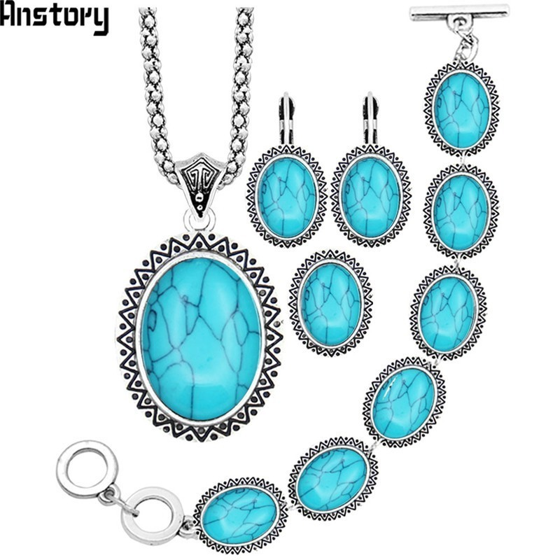 eeef62a61 Sunflower Oval Stone Jewelry Sets Necklace Bracelet Earrings Ring For Women  Vintage Antique Silver Plated Party Gift TS71