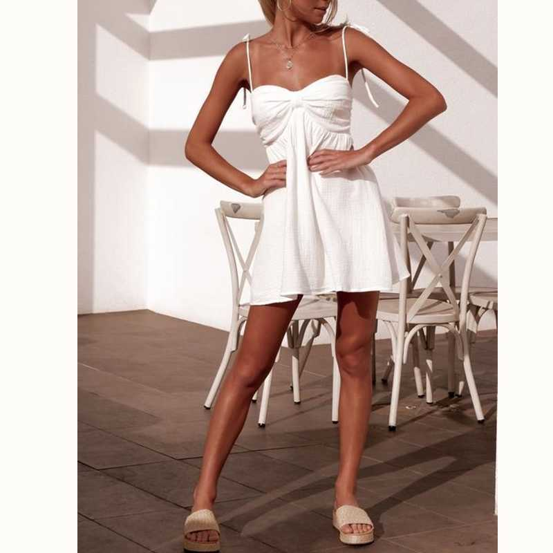 cd416a3cc5 ... 2019 new women solid white dress lace up strappy fresh young girls  summer sundress holiday beach ...