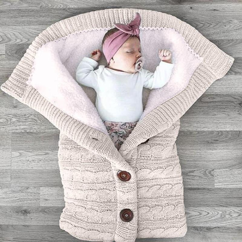 2018 winter Baby Sleeping Bag Thicken Cotton Knitting Envelope for Newborn Warm Soft footmuff for stroller sleeping Dropshipping
