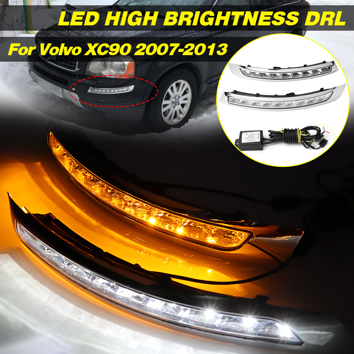 2 шт. Автомобильные дневные ходовые огни светодиодный DRL для Volvo XC90 2007 2008 2009 2010 2011 2012 2013 лампы сигнала поворота противотуманная фара мигающий