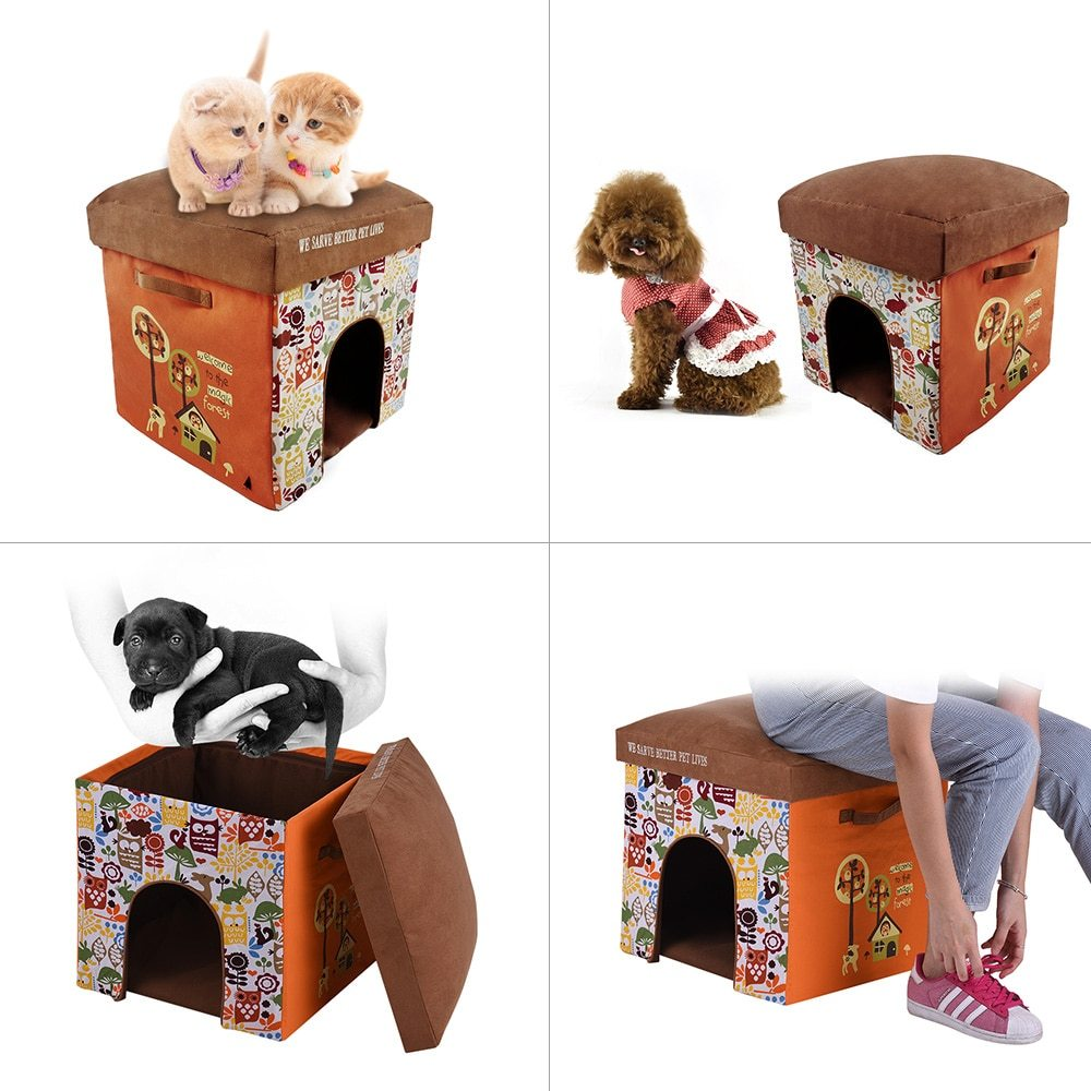 2 in 1 Multifunctional Foldable Washable Pet Cats Small Dogs Soft House Bed Living Room Foot Rest Cushioned Stool Cat Dog House