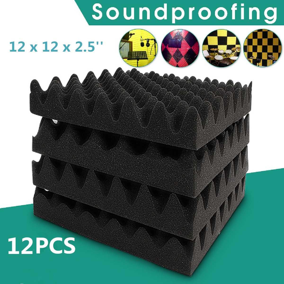 1/6/12 PCS 30 X 30 X 6cm Soundproofing Foam Acoustic Foam Sound Treatment Studio Room Absorption Wedge Tiles Polyurethane Foam