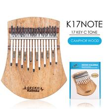 GECKO Kalimba 17 Key Thumb Piano Mbira Instrument with Tune Hammer Camphor Wood Keyboard Musical K17NOTE