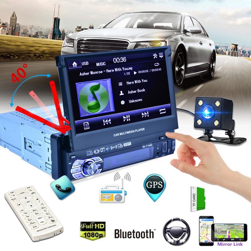 RK-7158G Voiture Radio Médias Multimédia Lecteur Véhicule-Monté Plein Écran Rétractable MP5/MP4/MP3 GPS Navigation Rétroviseur caméra