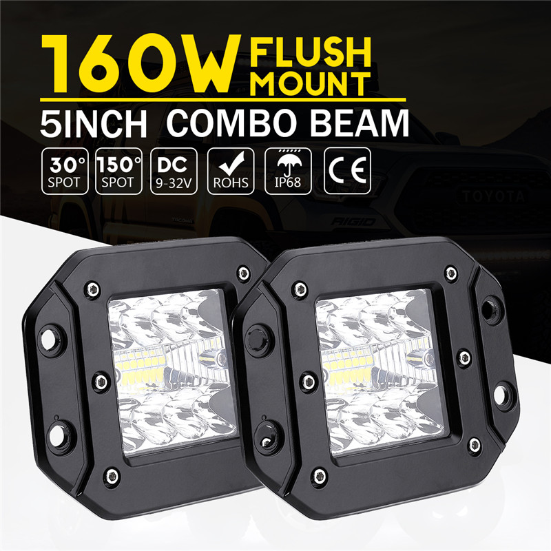 2PCSx 5Inch 160W For Jeep Car Led Bar Flush Mount Pods Driving Fog Off Road LED Work Light Styling Flood Offroad Light Truck S