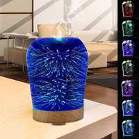 Starburst Diffusers for Essential Oils, Color Changing 100ml Ultrasonic Cool Mist Humidifier with 3D Glass LED Night Lights