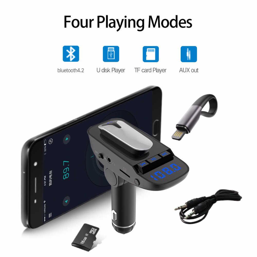 Беспроводной гарнитура Bluetooth FM передатчик MP3 Беспроводной адаптер, автомобильный набор свободные руки, поддерживает все смартфоны TF/SD карты и зарядных порта USB для автомобиля Char