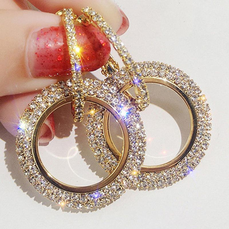 Woman Fashion Luxury Rhinestone All-match Alloy Hoop Earrings Round Circle