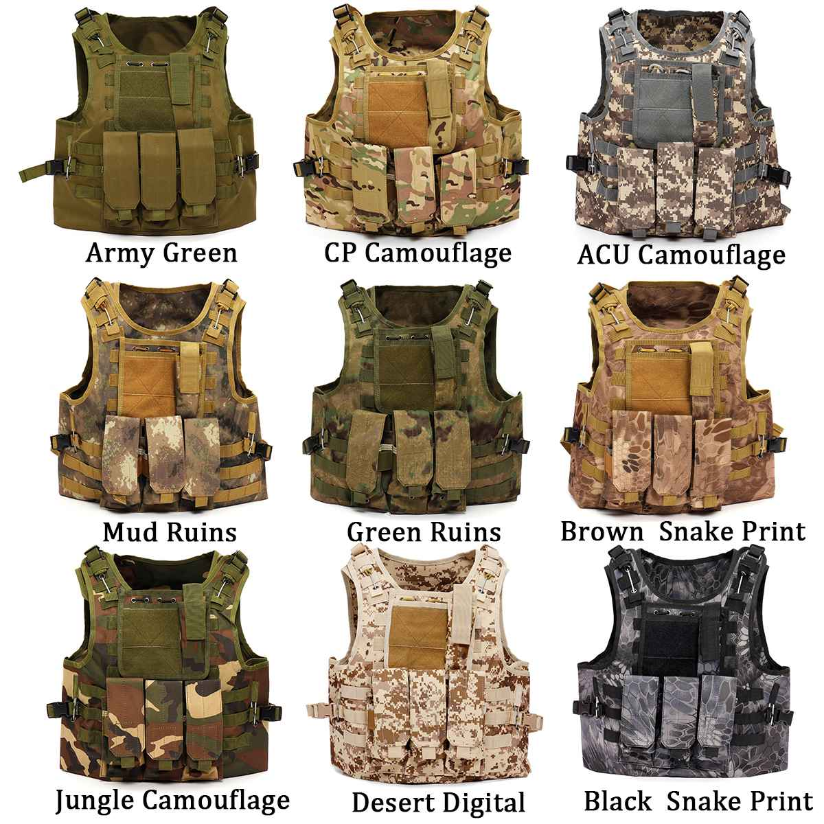 Tactical Camouflage Vest Military Vest Army Paintball Airsoft Combat Assault Adjustable Outdoor Army Training Combat Uniform