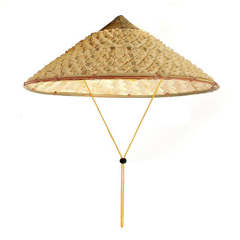 Vietnamese Japanese Coolie Straw Bamboo Cone Sun Hat Garden Farmer FishingVietnamese Japanese Coolie Straw Bamboo Cone Sun Hat Garden Farmer Fishing