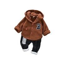 2018 Winter Boys Clothes Hooded Pile Faux Suede Coat+ Plaid Pants Kids Outfits Warm Tracksuit 1 4Y Cotton Children Clothing Set