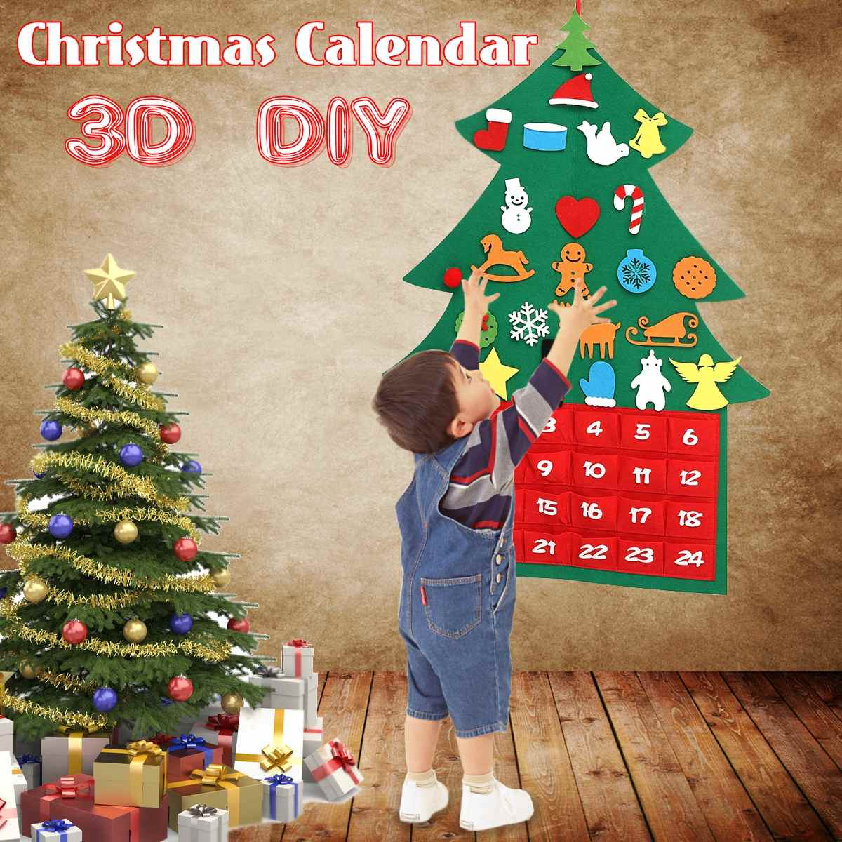 2019 New DIY Felt Christmas Advent Calendar X Mas Tree New