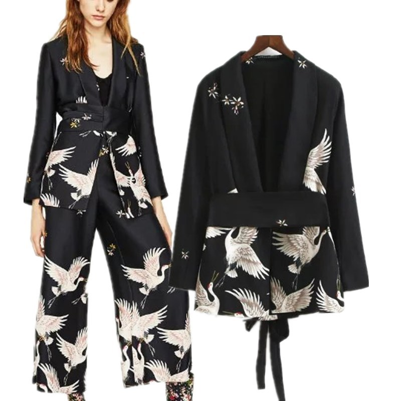 2019 New Women Vintage Clothing Sets Printed Blazer Wide Leg Retro Pant Female Bird Printed Outfit Pant Suits Women's Clothing
