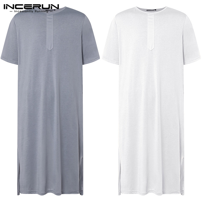 Fashion Pajamas Loose Mens Kaftan Robe Dress Abaya Arab Islamic Clothing Man Arabe Hombre Bathrobe Lounge Gown Bathrobe Hombre