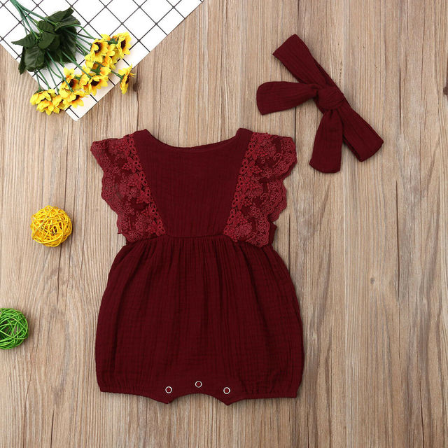 Summer Infant Newborn Baby Girls Clothing Lace Ruffles Romper Baby Girls Jumpsuit Sleeveless Playsuit Toddler Girl Costumes