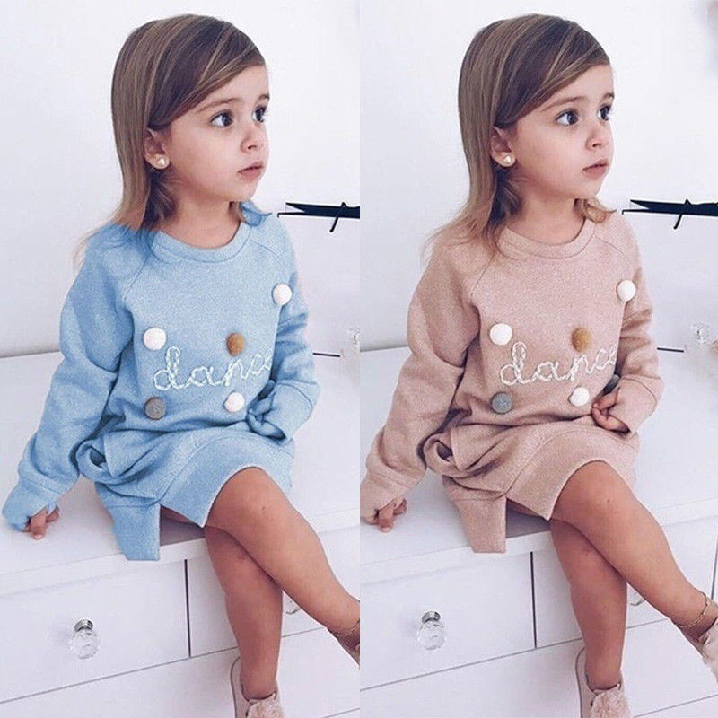 Dress Pullover Long-Sleeve Party Baby-Girls Autumn Kids Cotton Casual O-Neck 1-5Y Fur-Ball-Letter
