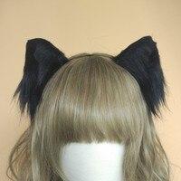 Лолита косплей костюм аксессуары Симпатичная кошка neko уши лисы обруч для волос черный белый головной убор сделано в руке